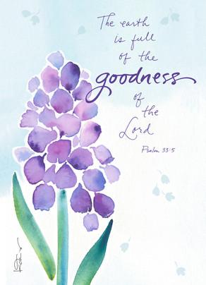 Religious Purple Flower Easter 5x7 Folded Card