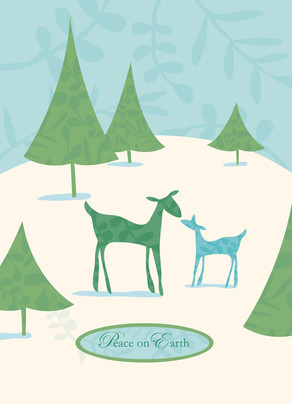 Deer Peace 5x7 Folded Card
