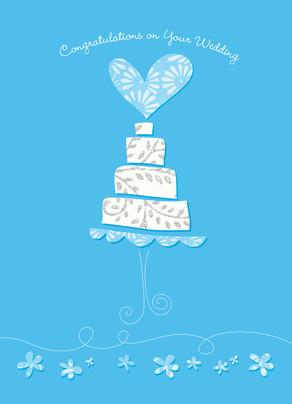 Wedding Cake Blue 5x7 Folded Card