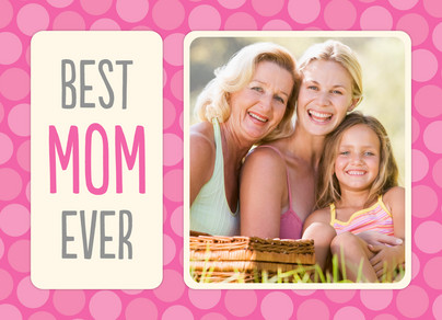 Pink Best Mom 7x5 Folded Card