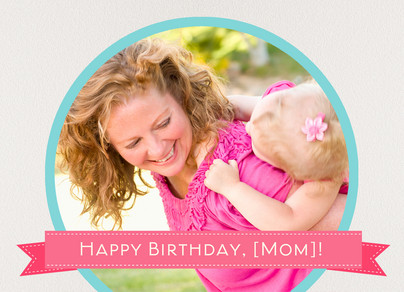 Pink Banner Birthday 7x5 Folded Card
