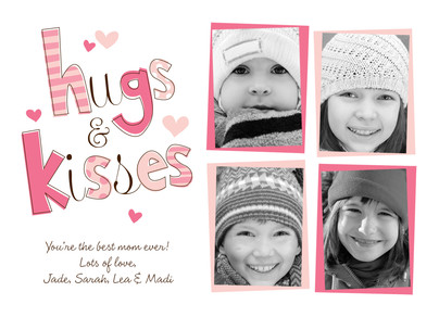 Hugs Kisses 7x5 Flat Card