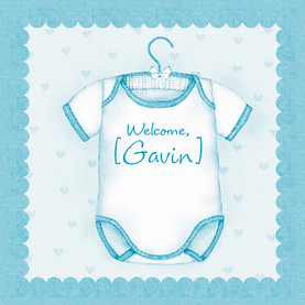 Blue Onesie 4.75x4.75 Folded Card