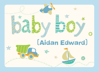 Baby Boy 7x5 Folded Card