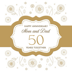 Mom and Dad 50th Anniversary 4.75x4.75 Folded Card