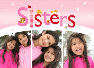 Holiday Sisters Collage 7x5 Folded Card