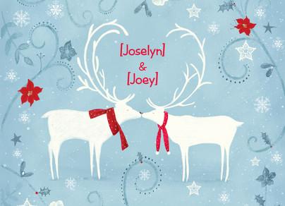 Christmas Reindeer Love 7x5 Folded Card