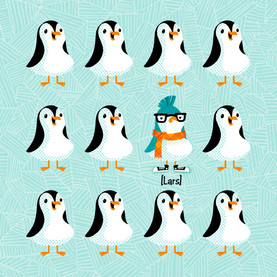 Misfit Penguin 4.75x4.75 Folded Card