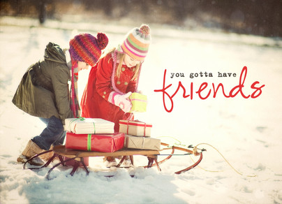 Two Friend Sled 7x5 Folded Card