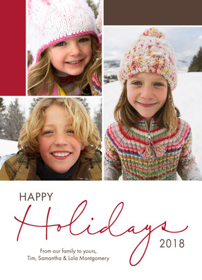 Red Holiday Script 5x7 Flat Card