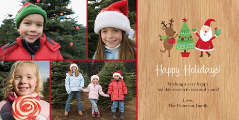 Reindeer Santa Dancing 8x4 Flat Card