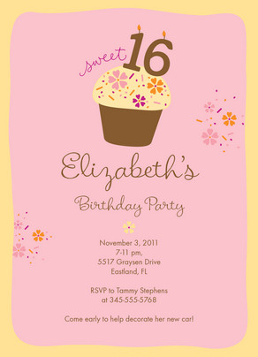 Sweet Cupcake Party 5x7 Flat Card