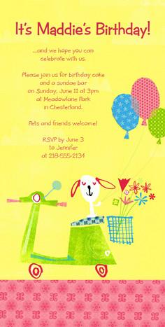 Puppy Vespa Balloons 4x8 Flat Card