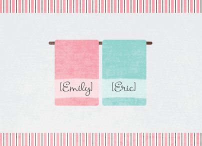 His Hers Towels 7x5 Folded Card