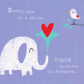 Cupid Misfires Love 4.75x4.75 Folded Card