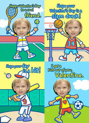 Sports Valentine 5x7 Flat Card