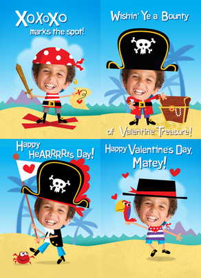 Pirate Valentine Maze 5x7 Flat Card