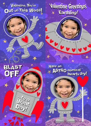 Outer Space Valentine 5x7 Flat Card