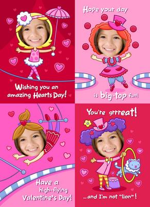 Pink Valentine Circus 5x7 Flat Card