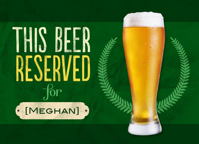 Green Reserved Beer 7x5 Folded Card