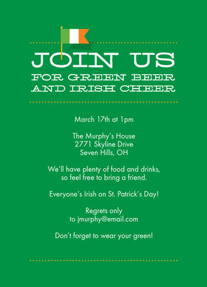 Irish Cheer Invitation 5x7 Flat Card