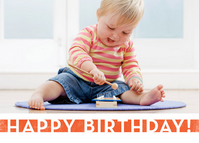 Orange Birthday Banner 7x5 Folded Card
