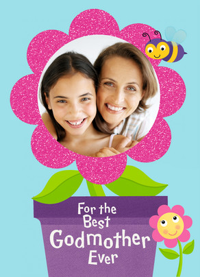 Godmother Flowerpot Frame 5x7 Folded Card