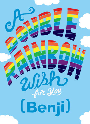 Double Rainbow Birthday Wish 5x7 Folded Card