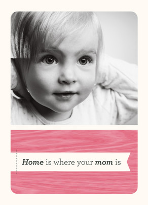 Pink Woodgrain Mom Home 5x7 Folded Card
