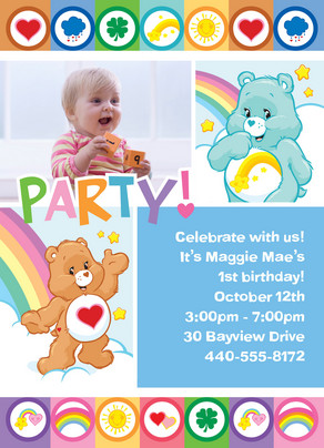 Care Bear Rainbow Party 5x7 Flat Card