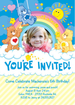 Care Bear Playground Party 5x7 Flat Card
