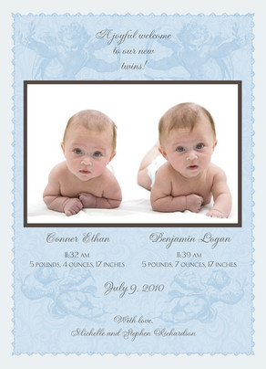 Blue Angel Twins 5x7 Flat Card