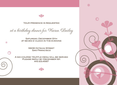 Sweet Swirls Birthday 7x5 Flat Card