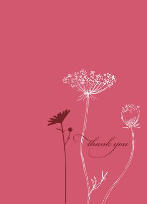 Flower Silhouette Thanks 3.75x5.25 Folded Card