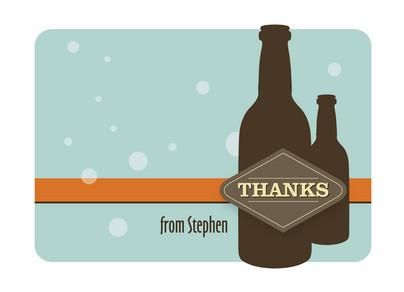 Beer Bottle Thanks 5.25x3.75 Folded Card