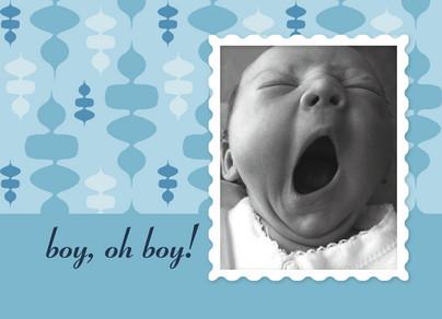 Retro Blue Baby 5.25x3.75 Folded Card