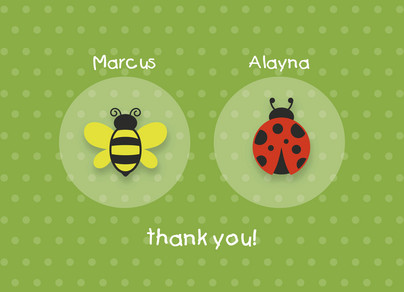 Bug and Bee Twins Note 5.25x3.75 Folded Card