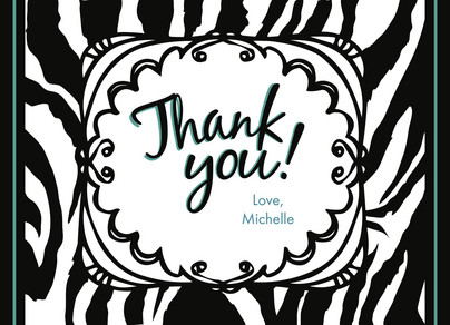 Zebra Thanks 5.25x3.75 Folded Card