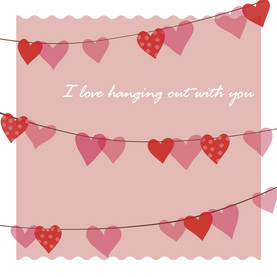Hanging Hearts 4.75x4.75 Folded Card