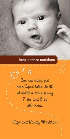 Baby Birdsong 4x8 Flat Card