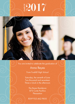 Orange Blue Graduation 5x7 Flat Card