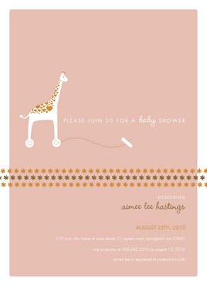 Peach Giraffe Shower 5x7 Flat Card