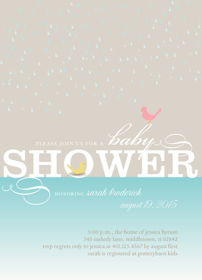 Yellow Baby Bird Shower 5x7 Flat Card