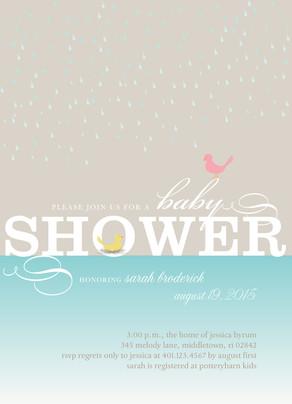 Yellow Baby Bird Shower 5x7 Flat Card