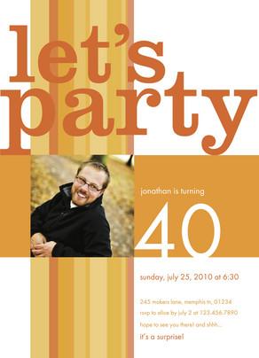 Orange Stripe Party 5x7 Flat Card