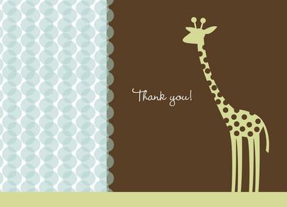Giraffe Dot Blue Thanks 5.25x3.75 Folded Card