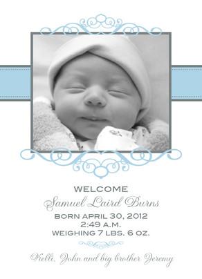 Blue Frame Baby 5x7 Flat Card
