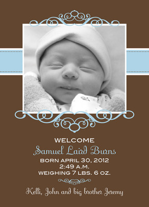 Blue Frame Brown 5x7 Flat Card