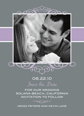 Purple Frame Gray Date 5x7 Flat Card