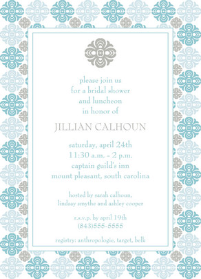 Light Gray and Baby Blue Shower 5x7 Flat Card